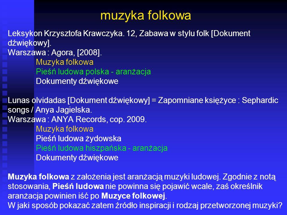 muzyka folkowa Leksykon Krzysztofa Krawczyka. 12, Zabawa w stylu folk [Dokument. dźwiękowy]. Warszawa : Agora, [2008].